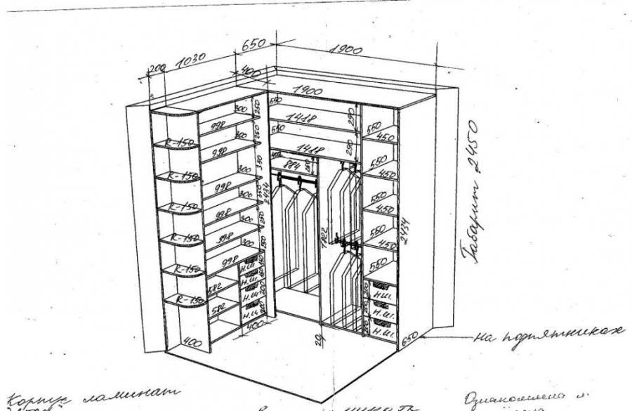 Встроенный угловой шкаф своими руками чертежи и схемы 187