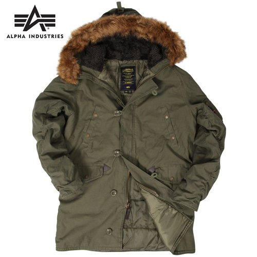 Alpha Industries Slim Fit Cotton N-3B - Зимняя удлиненная летная куртка-парка, рассчитанна на очень холодную погоду.