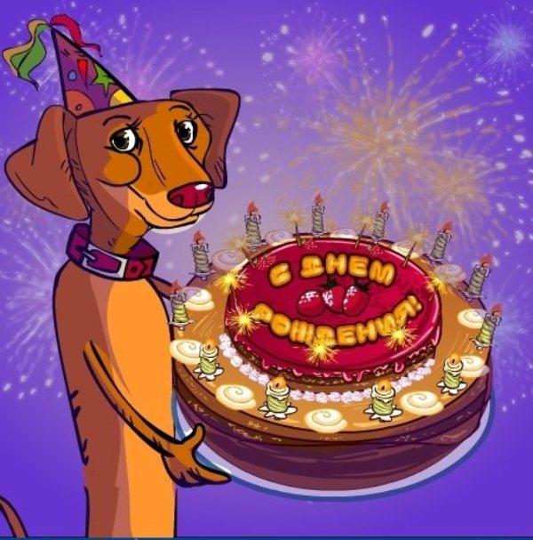 Прикольная открытка с днем рождения сестре с собакой, картинка