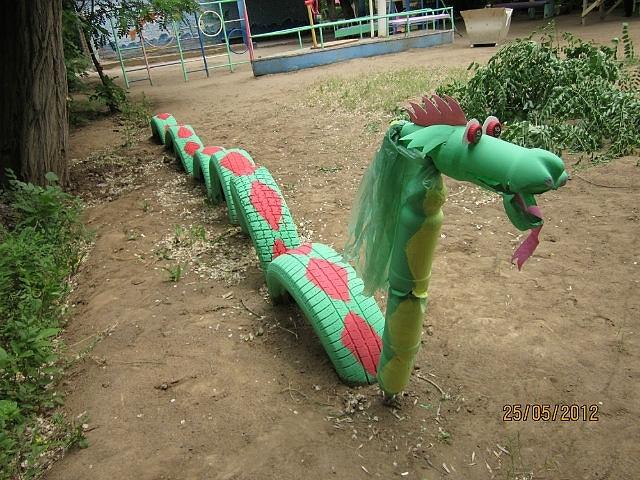 Детские площадки из шин своими руками фото
