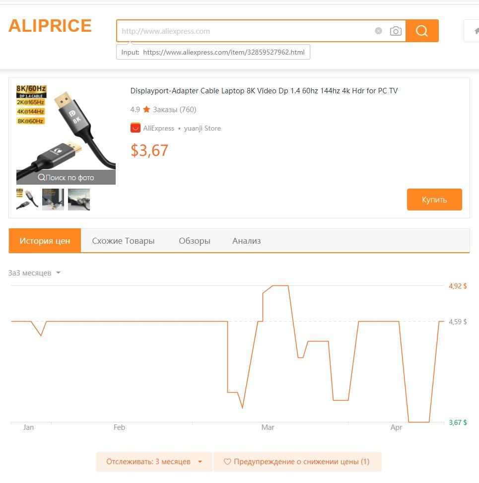 Сервис aliprice.com для отслеживания изменения цен