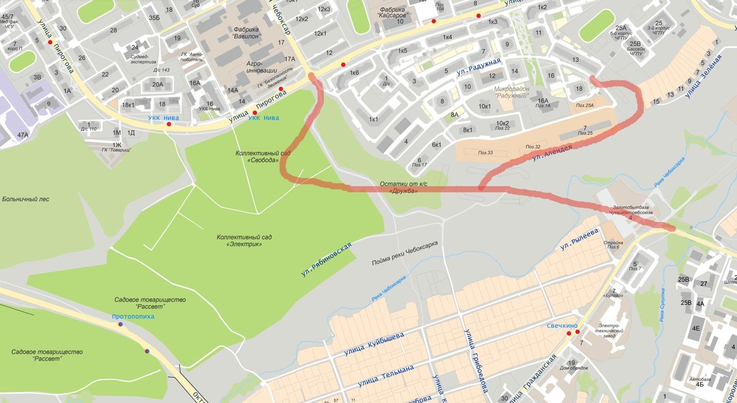 Красным маркером отмечены планирующиеся дороги
