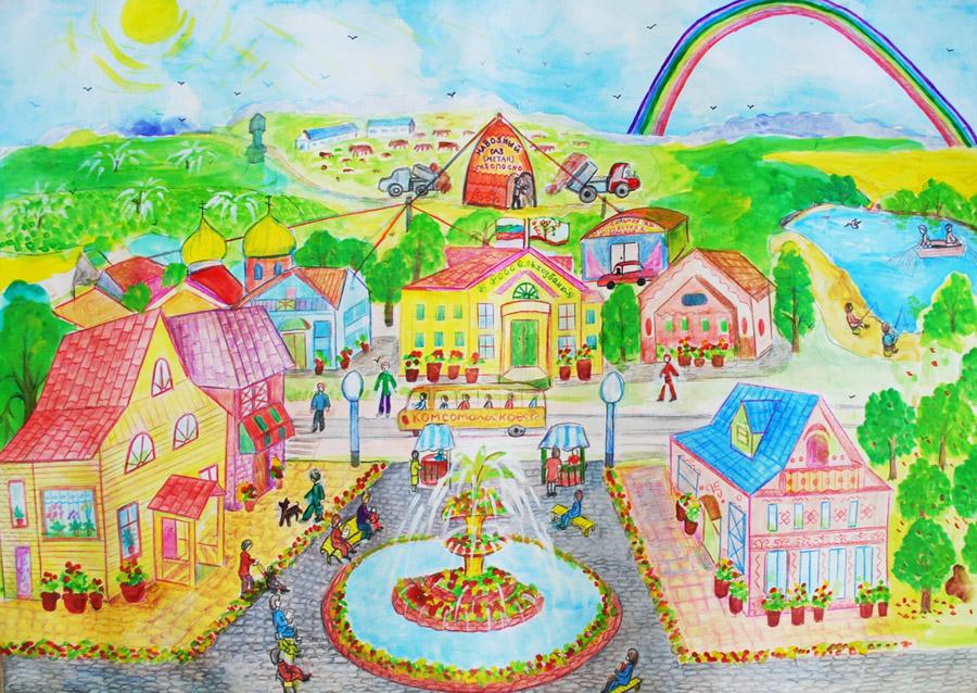 Рисунок села будущего
