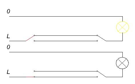 схемы проходных выключателей.