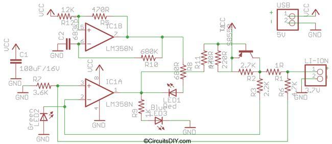 Схема USB зарядки Li-ion аккумуляторов.