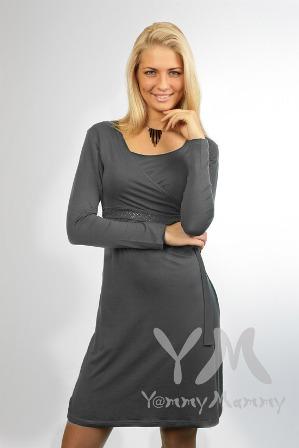 Платье с запахом, с фигурной линией низа.  Спереди на лифе - нагрудные.