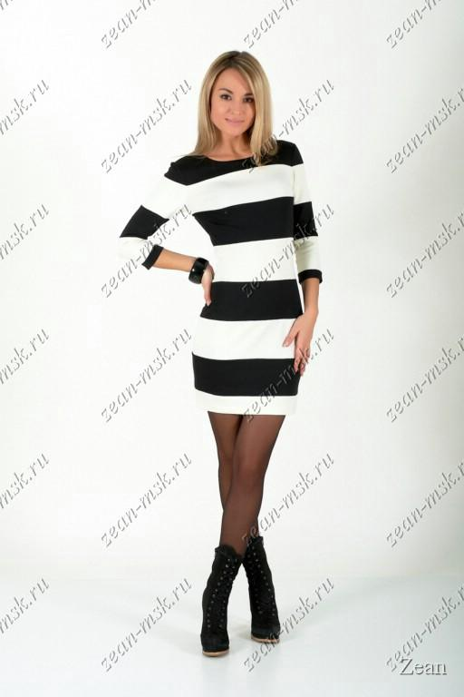 49.Стильное трикотажное платье в полоску из французкого трикотажа 7003.